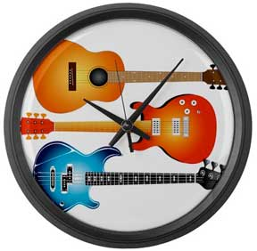 3 Guitars wall clock, electric, bass, acoustic